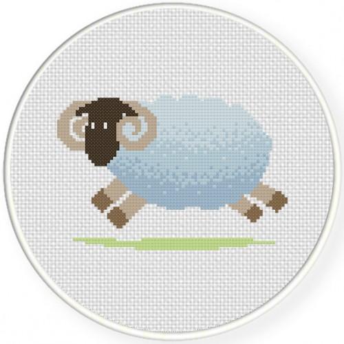Jumping Ram Cross Stitch Illustration