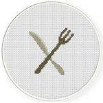 Knife and Fork Cross Stitch Illustration
