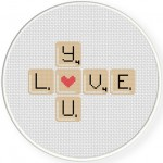 Love You Word Game Cross Stitch Illustration