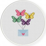 Messenger Butterflies Cross Stitch Illustration