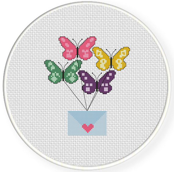 Messenger Butterflies Cross Stitch Pattern Daily Cross