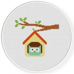 Owl Home Cross Stitch Illustration