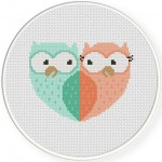 Owl Sweethearts Cross Stitch Illustration