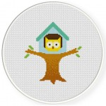 Owl Tree House Cross Stitch Illustration