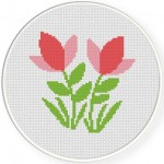 Pink Cute Flowers Cross Stitch Illustration