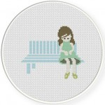 Sitting Girl Cross Stitch Illustration