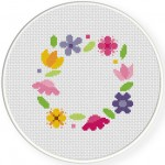 Spring Wreath Cross Stitch Illustration