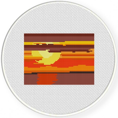 Sunset Cross Stitch Illustration