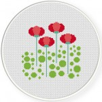 Sweet Red Flowers Cross Stitch Illustration