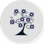 SwirlyTree Cross Stitch Illustration