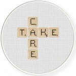 Take Care Word Game Cross Stitch Illustration