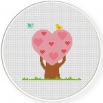 Tree Heart Cross Stitch Illustration