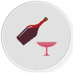 Wine and Glass Cross Stitch Illustration