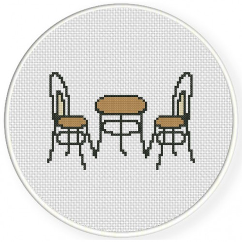 2 Chairs 1 Table Cross Stitch Illustration
