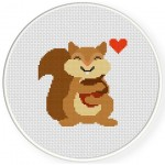 Acorn Hug Cross Stitch Illustration