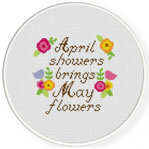 April Showers Cross Stitch Illustration