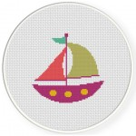 Cute Boat Cross Stitch Illustration