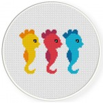 Cute Seahorses Cross Stitch Illustration