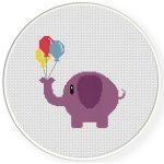 Elephant With Balloon Cross Stitch Illustration