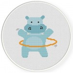 Hula Hoop Hippo Cross Stitch Illustration