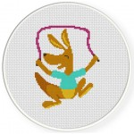Jump Rope Kangaroo Cross Stitch Illustration