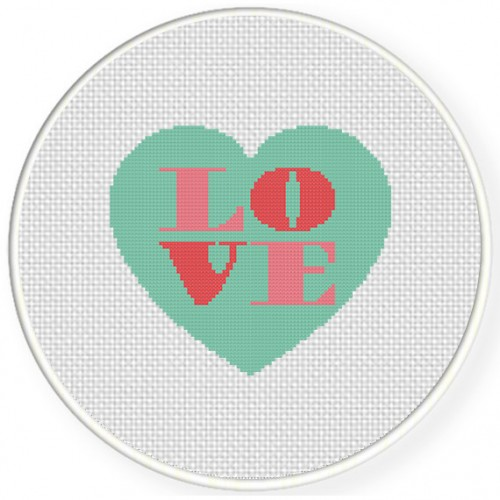 Love Heart Cross Stitch Illustration