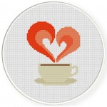 Love My Coffee Cross Stitch Illustration