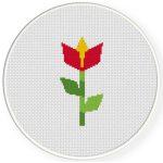 Origami Flower Cross Stitch Illustration