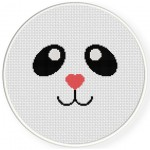 Panda Face Cross Stitch Illustration