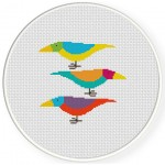 Paradise Colorful Birds Cross Stitch Illustration