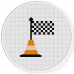 Racing Flag in cone Cross Stitch Illustration