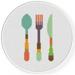 Retro Utensils Cross Stitch Illustration