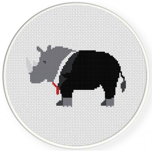 Rhino In a Suit Cross Stitch Illustration