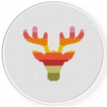 Stag Head Cross Stitch Illustration