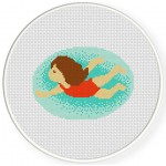 Summer Swimming Cross Stitch Illustration