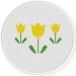 Three Yellow Flowers Cross Stitch Illustration