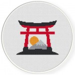 Torii Gate Cross Stitch Illustration