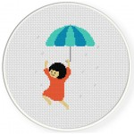Umbrella Girl Cross Stitch Illustration