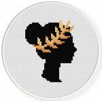 Wreath Girl Cross Stitch Illustration