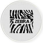 Zebra Pattern Cross Stitch Illustration