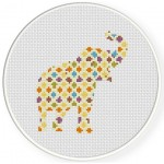 Abstract Elephant Cross Stitch Illustration