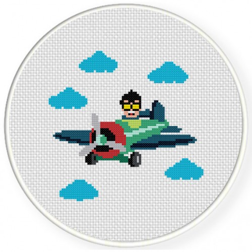 Air Boy Cross Stitch Illustration