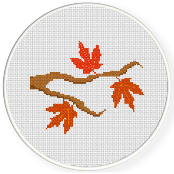 Autumn Branch Cross Stitch Pattern Daily Cross Stitch