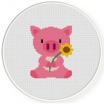 Baby Pig Cross Stitch Illustration