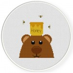 Bear Loves Honey Cross Stitch Illustration