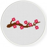 Beautiful Cherry Blossoms Cross Stitch Illustration