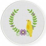 Bird Laurel Cross Stitch Illustration