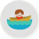 Boy On A Boat Cross Stitch Illustration