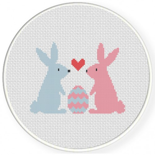 Bunnies And Egg Cross Stitch Illustration