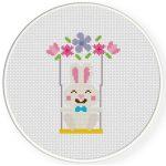 Bunny Swing Cross Stitch Illustration